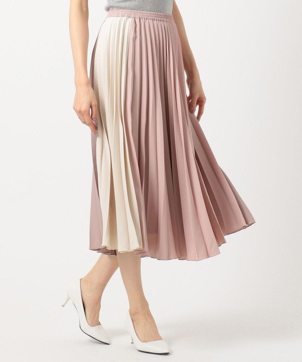 Feroux 【洗える】カラーブロックプリーツ スカート ピンク系1