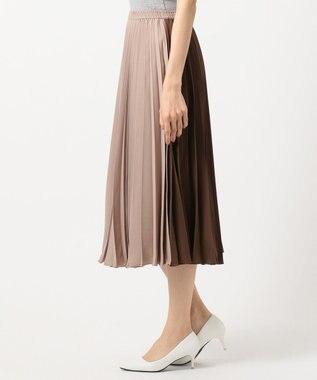 Feroux 【洗える】カラーブロックプリーツ スカート ベージュ系1