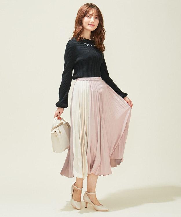 Feroux 【洗える】カラーブロックプリーツ スカート