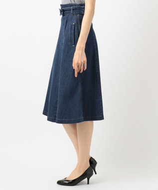 Feroux 【洗える】カジュアルレディデニム スカート ダルブルー系