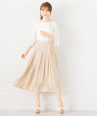 Feroux 【洗える】ヴィンテージサテン スカート ベージュ系