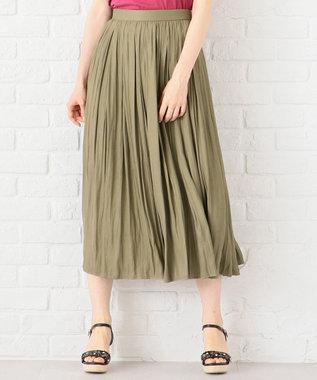 Feroux 【洗える】ヴィンテージサテン スカート カーキ系