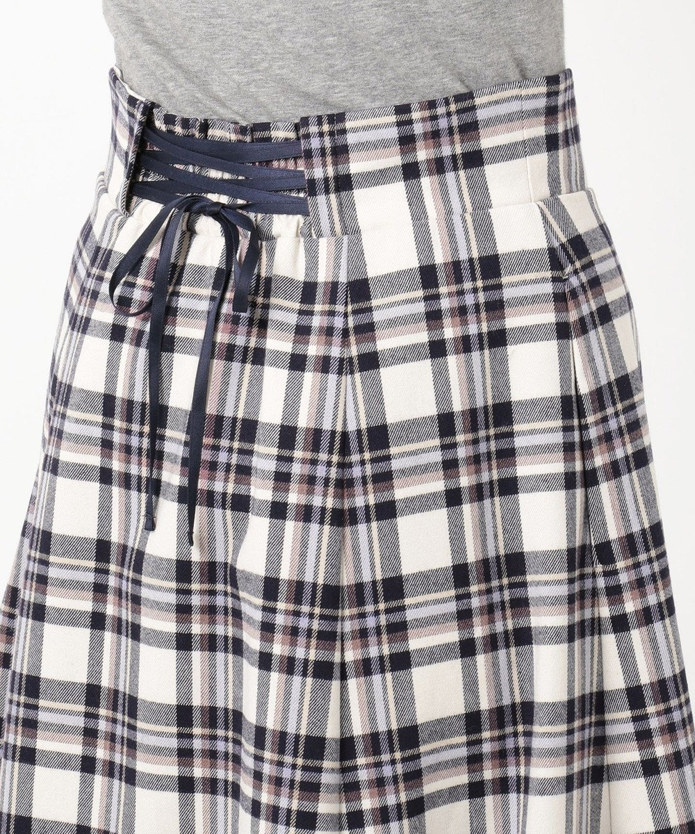 Feroux 【洗える】プレッピーカラーチェック スカート ネイビー系3