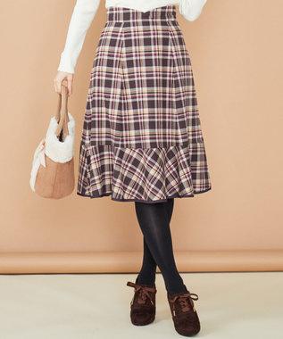 Feroux 【洗える】プレッピーカラーチェック スカート キャメル系3