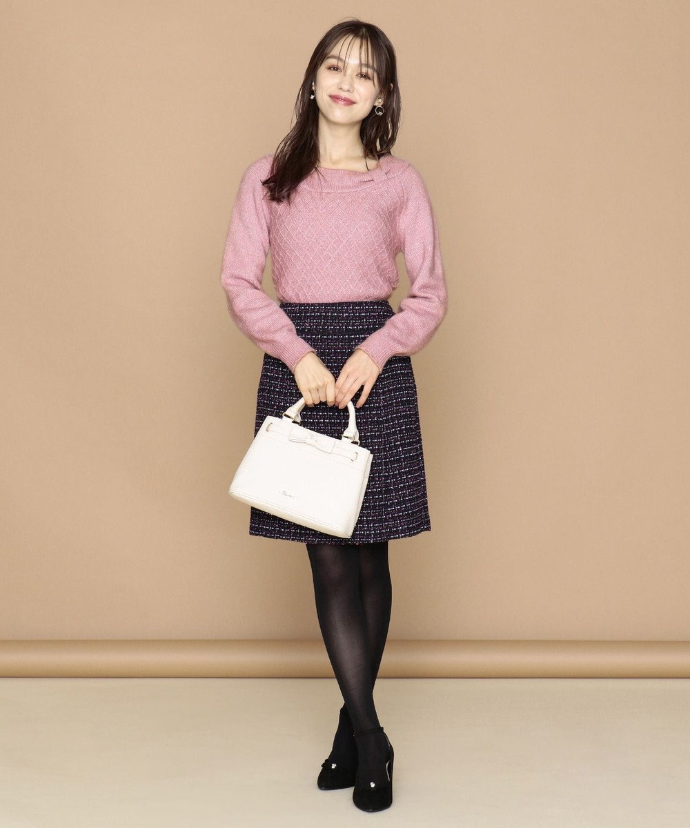 Feroux 【Ray12月号掲載】リボンヤーンミックスツイード スカート ネイビー系3