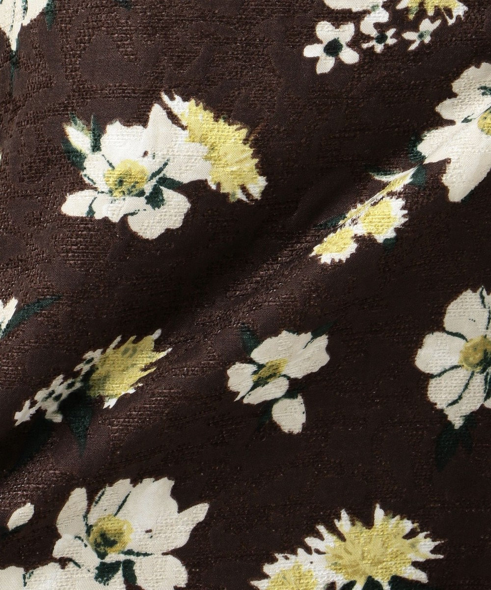 Feroux 【洗える】ジャガードオンフラワー スカート ダークブラウン系3