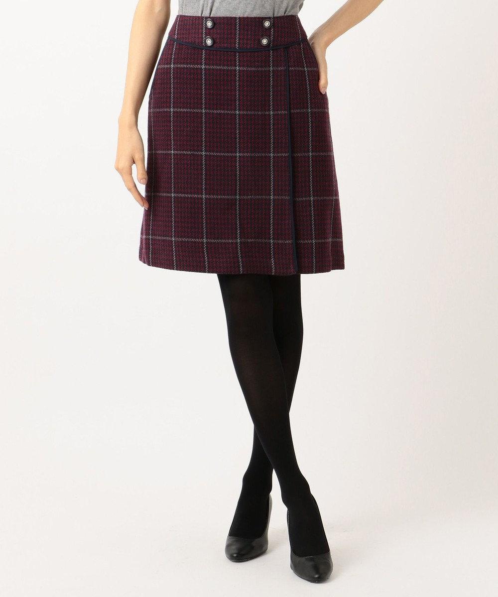 Feroux Fluffyチェック スカート ワイン系3