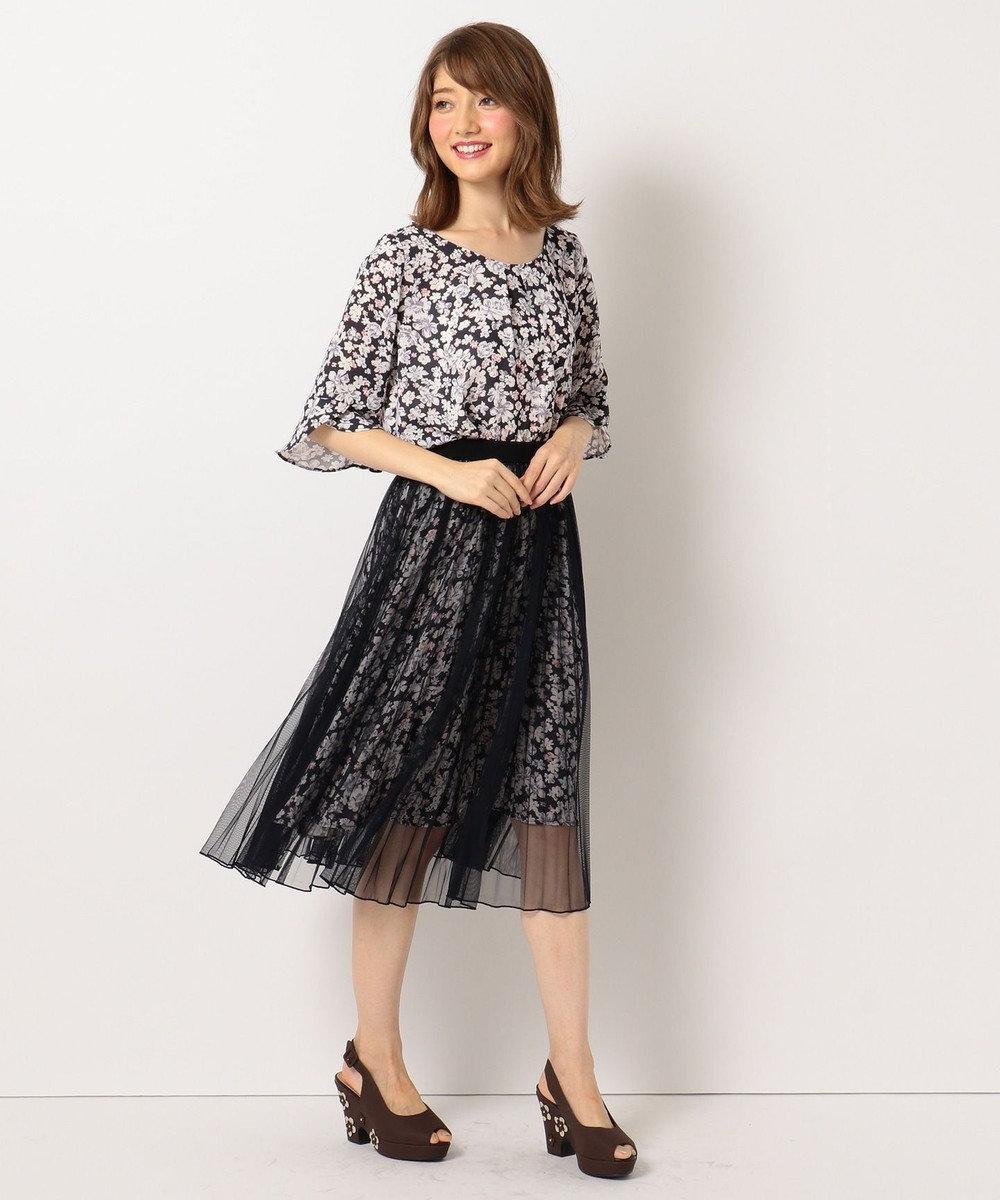 Feroux 【洗える】Mixフローラルクロージング スカート ネイビー系3