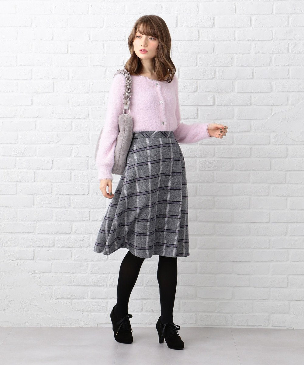 Feroux ツイーディカラーチェック スカート ネイビー系3