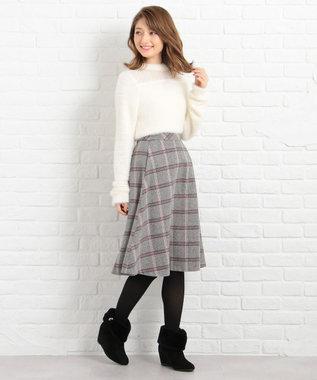 Feroux ツイーディカラーチェック スカート ブラック系3