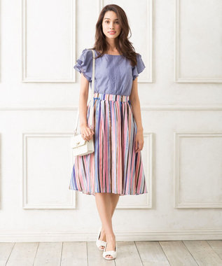 TOCCA 【洗える!】PARASOL ストライプ スカート ブルー系1