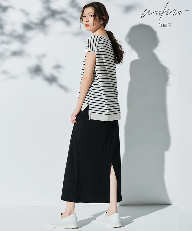自由区 L 【Unfilo】ツイストテレコ ロングスカート