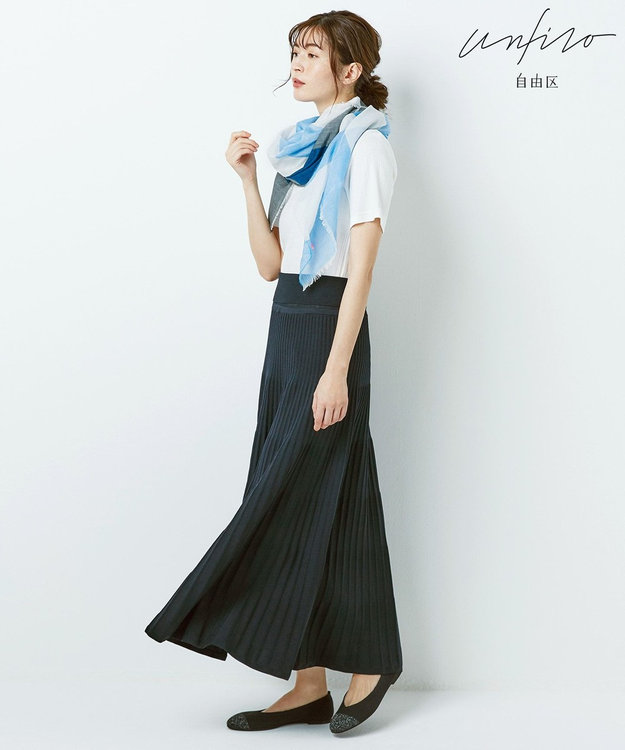 自由区 【Unfilo】コットンブレンドニット プリーツスカート(検索番号Z46)
