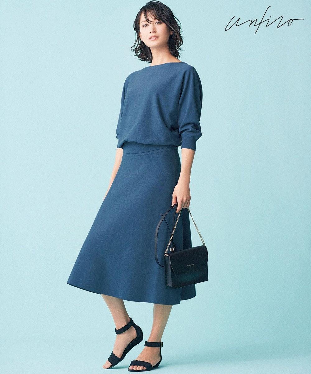 自由区 【Unfilo】コットンストレッチ フレアースカート(検索番号Z32) ブルー