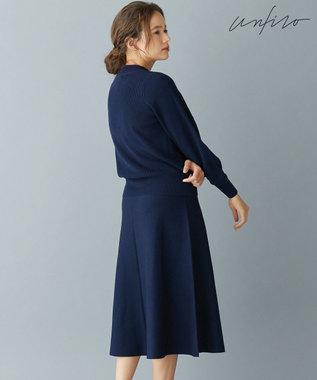 自由区 L 【Unfilo】SEMI WORSTED ニットフレアースカート(検索番号Z99) ネイビー系