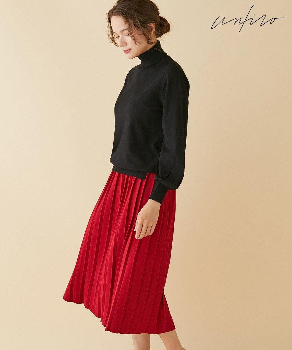 自由区 【Unfilo】カラーベーシックニット プリーツスカート(検索番号Z87) レッド