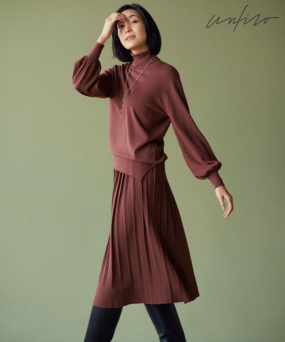 自由区 【Unfilo】カラーベーシックニット プリーツスカート(検索番号Z87) ブラウン