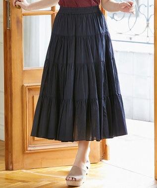 組曲 L 【新色追加!】エアリーボイルティアードスカート ブラック系