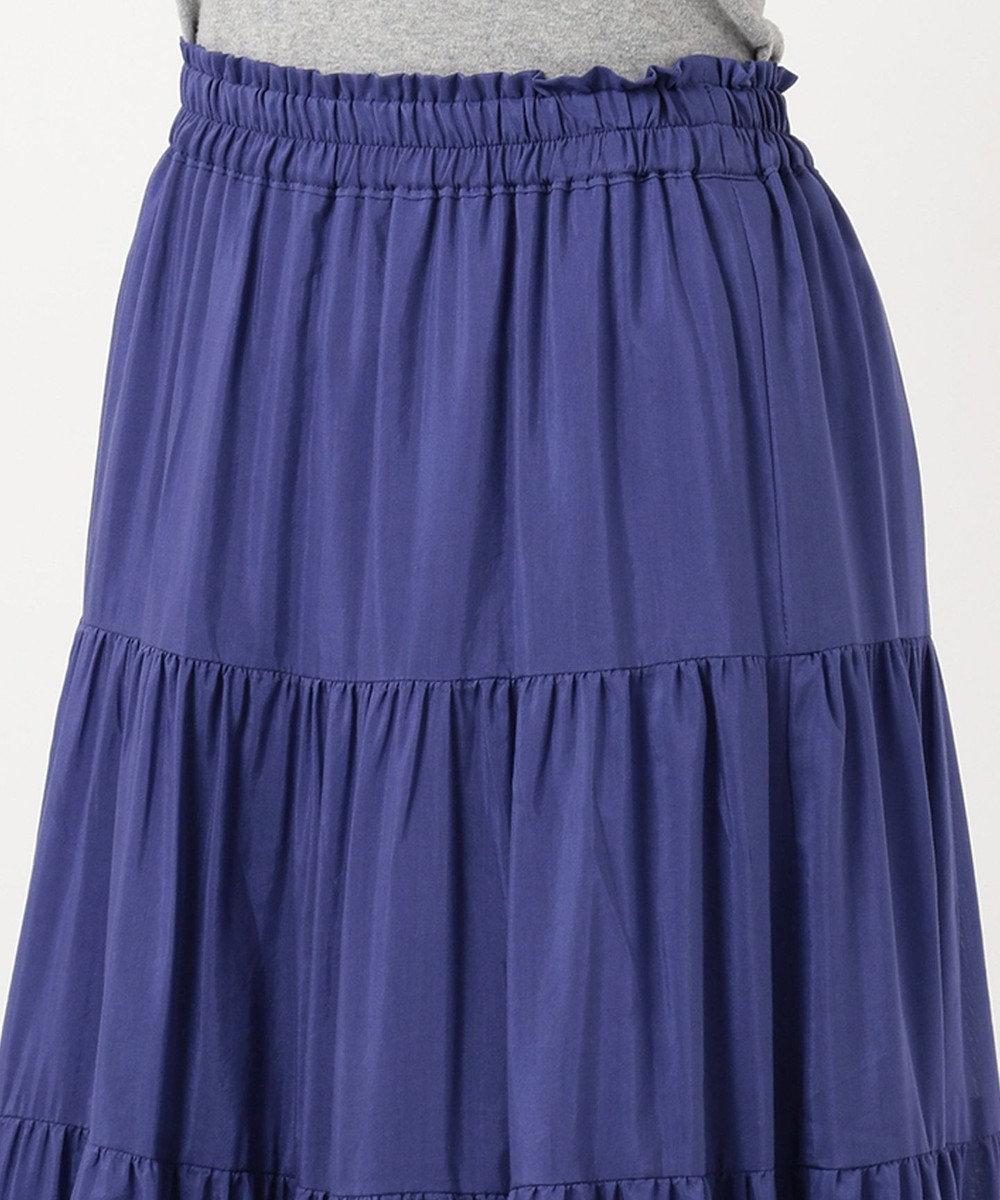 自由区 L 【洗える】SILK COTTON LAWN マキシスカート ブルー系