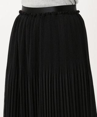 自由区 カラミプリーツ ロングスカート ブラック系
