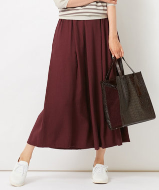 自由区 L 【洗える】2WAYカラー スカート ワイン系