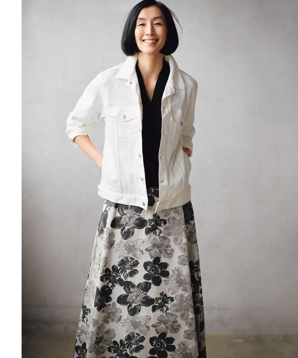 自由区 【マガジン掲載】SAKURA ジャカード リバーシブルスカート(検索番号E42) グレー系6