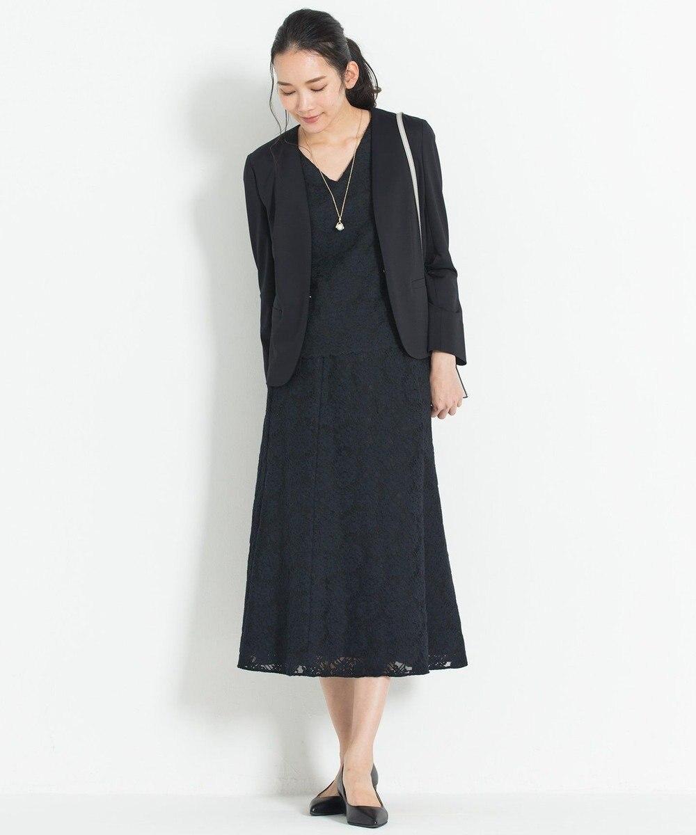 自由区 L 【マガジン掲載】フラワージャカードレース フレアースカート(検索番号F55) ネイビー系9
