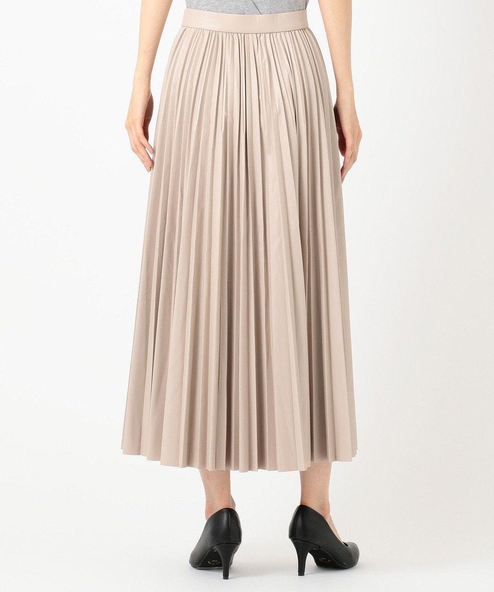 自由区 L エコレザー プリーツ ロング スカート ローズ系