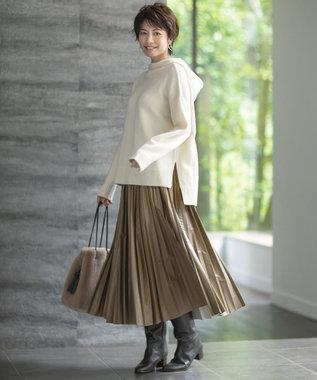自由区 L エコレザー プリーツ ロング スカート キャメル系