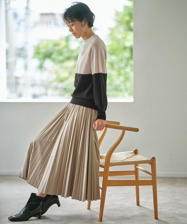 自由区 L エコレザー プリーツ ロング スカート