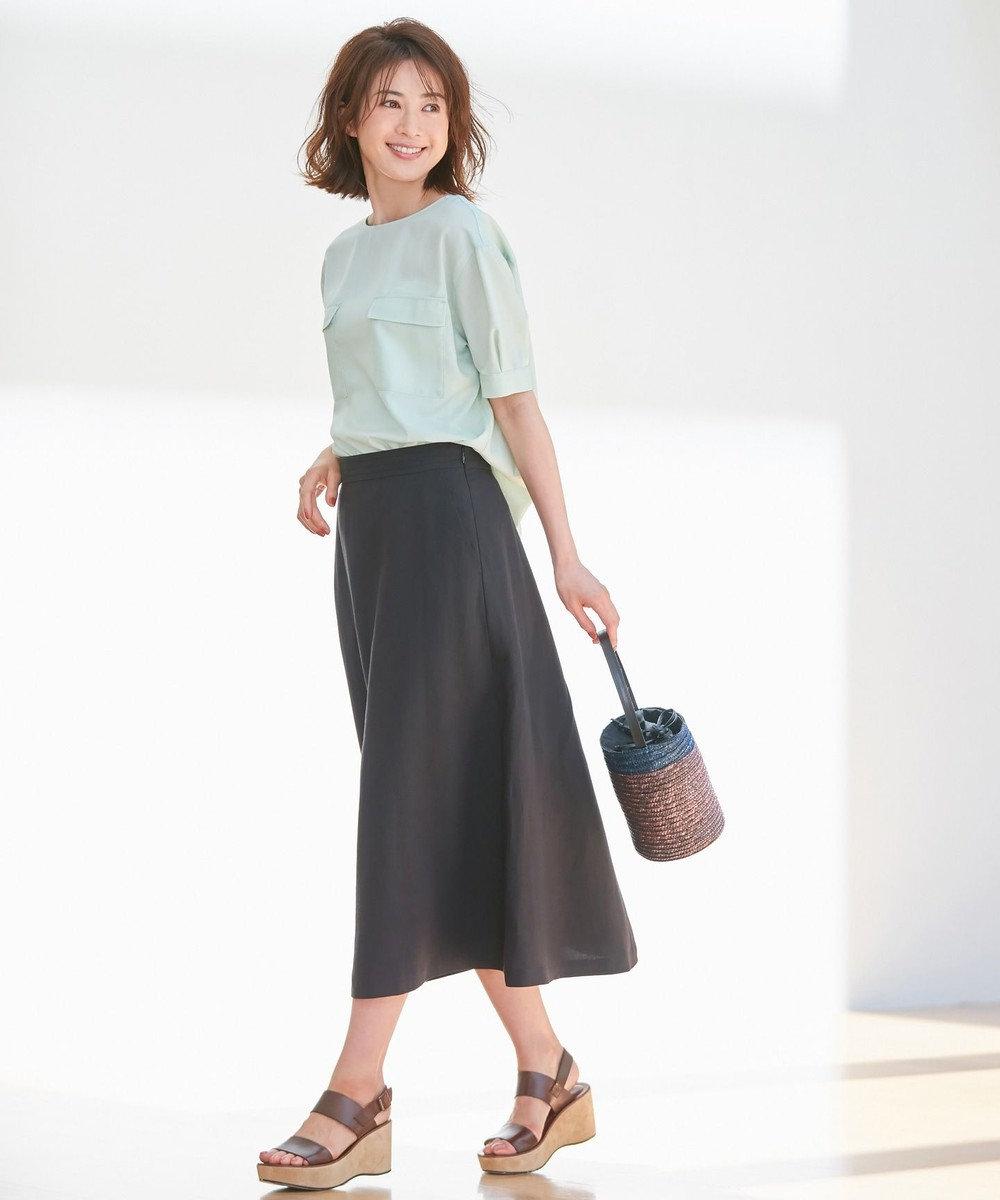 自由区 L 【洗える】LINEN OX スカート ブラック系