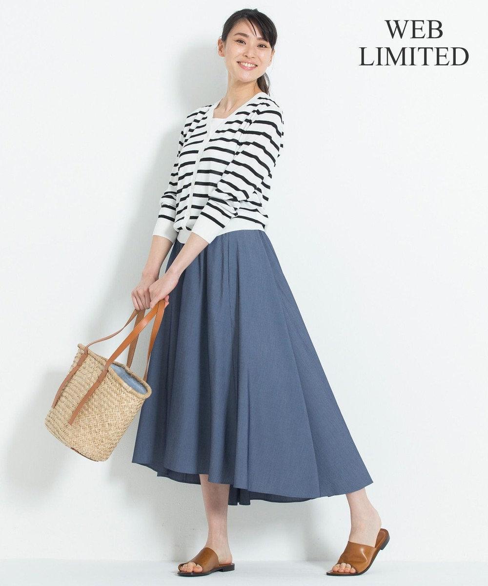 自由区 【WEB限定】STRETCH POPLIN スカート ネイビー系