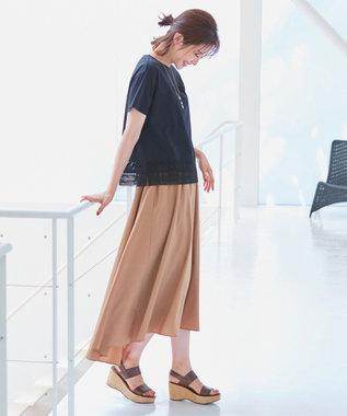 自由区 【WEB限定】STRETCH POPLIN スカート キャメル系