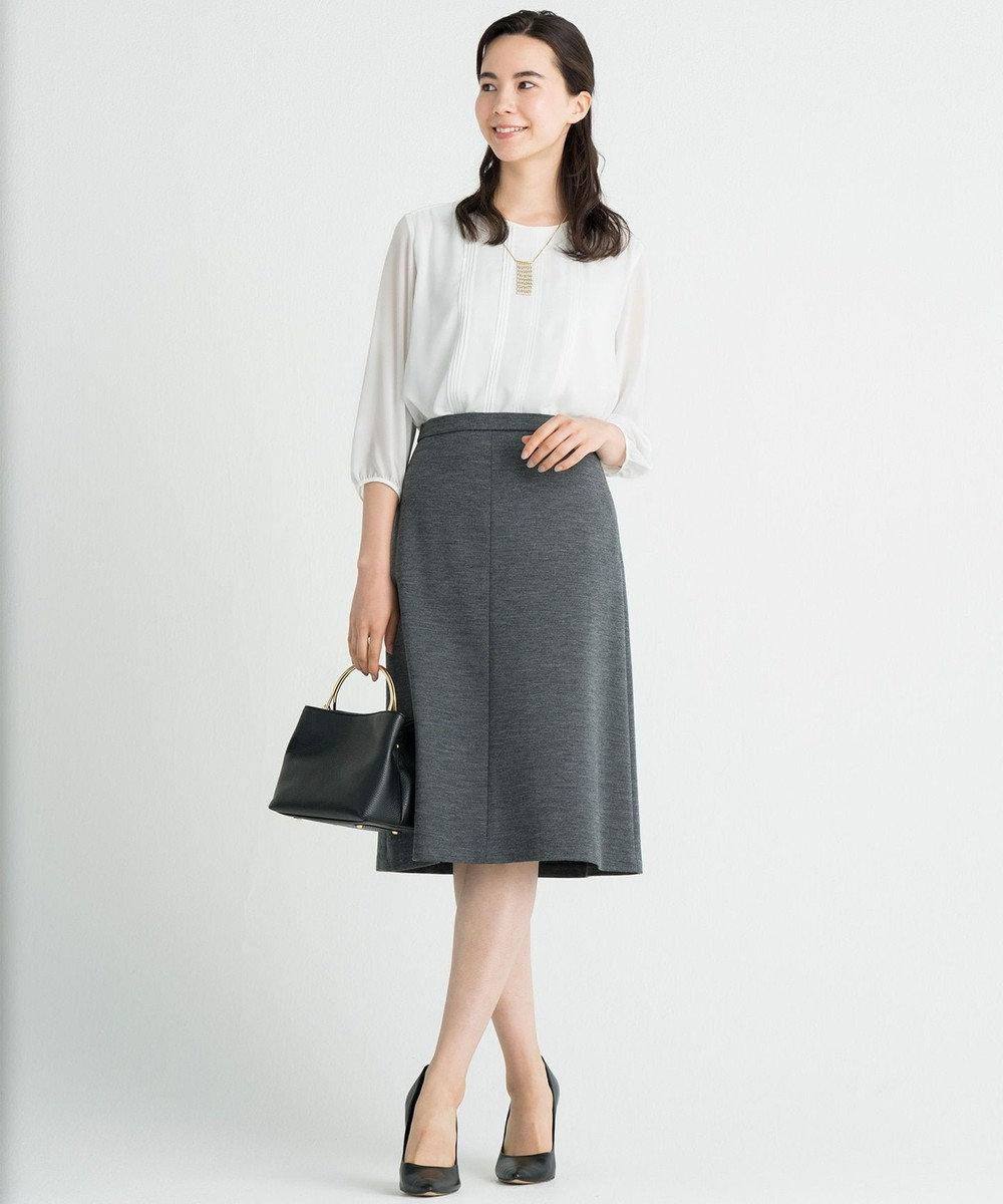 自由区 【マガジン掲載】ウォッシャブルウール セミフレアースカート(検索番号N24) グレー系