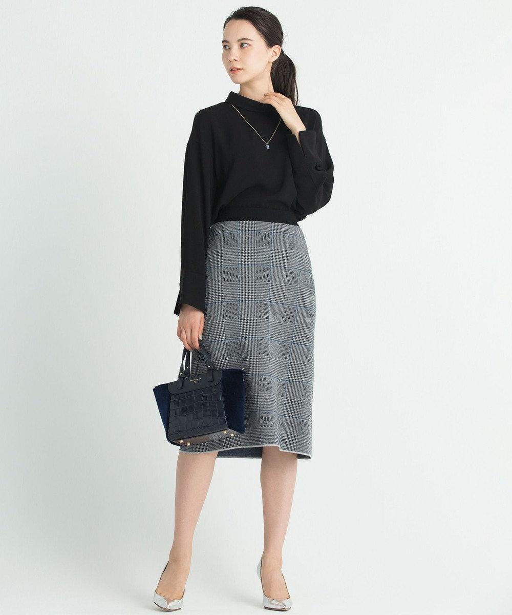 自由区 L 【洗える】グレンチェック ニットスカート ブラック系3