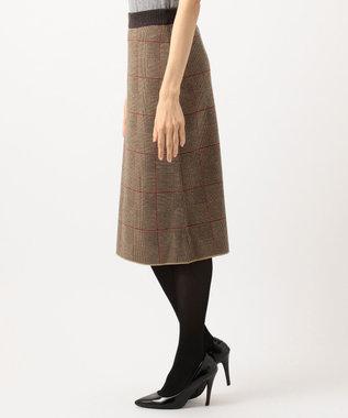 自由区 L 【洗える】グレンチェック ニットスカート キャメル系3