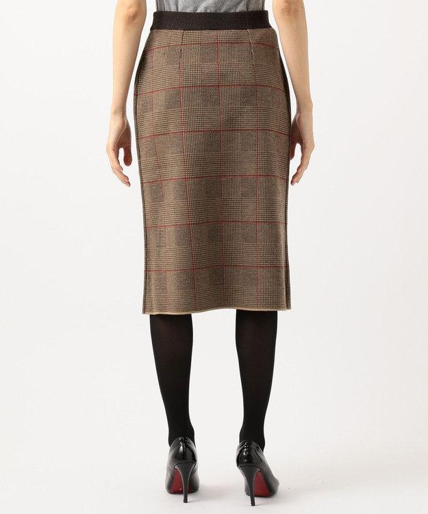 自由区 L 【洗える】グレンチェック ニットスカート