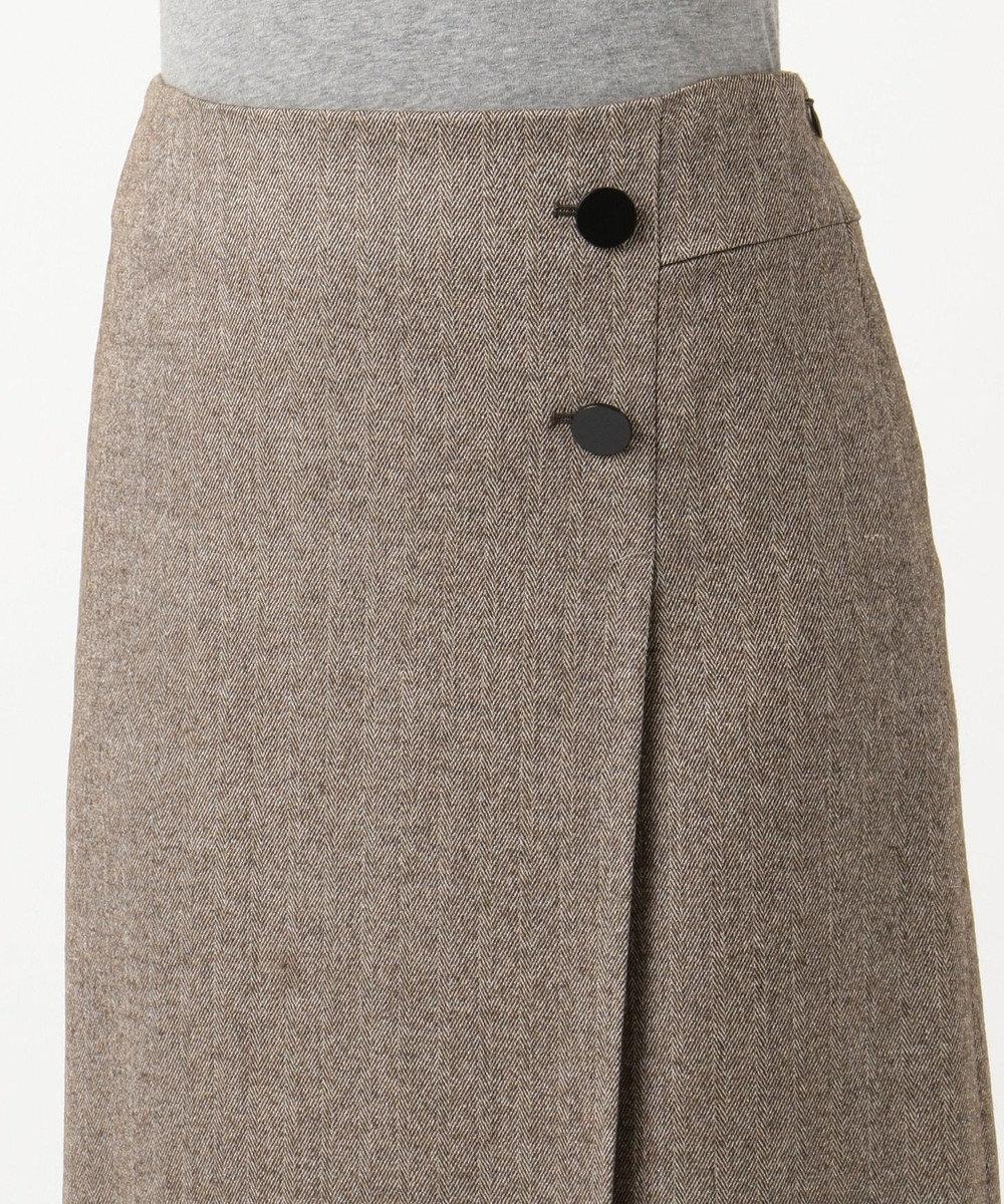 自由区 ウールヘリンボーン スカート ダークブラウン系7