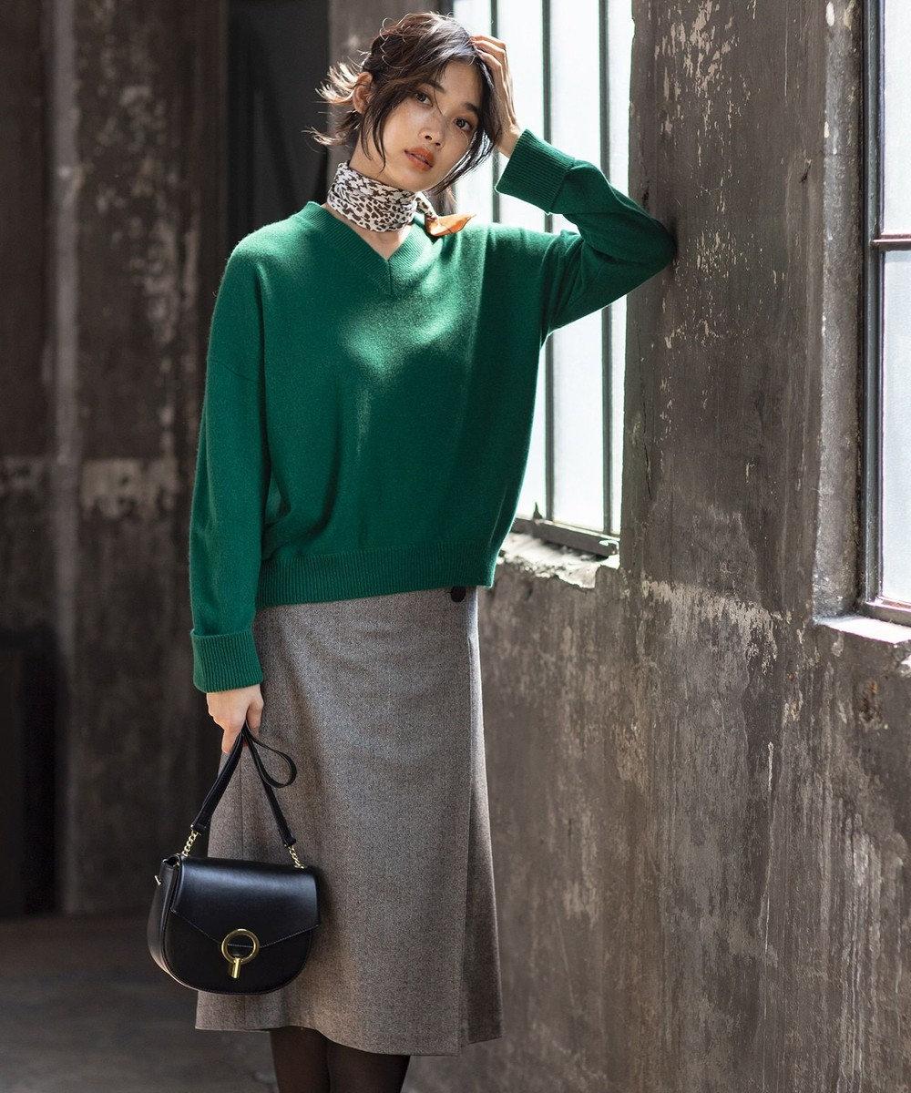自由区 ウールヘリンボーン スカート ブラック系7