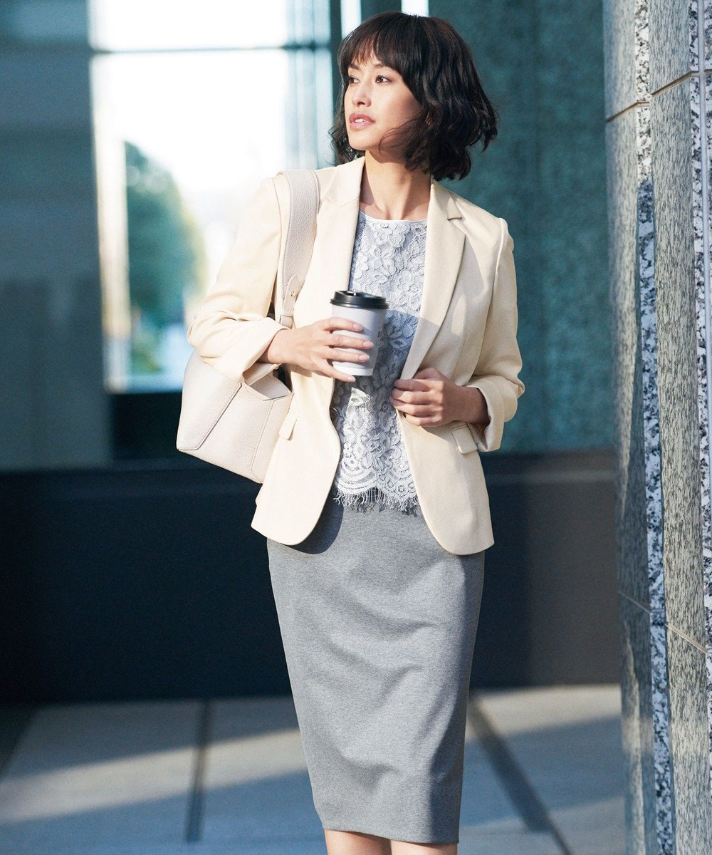 自由区 【マガジン掲載】SARTI ライトプレスジャージー スカート(検索番号F48) ライトグレー