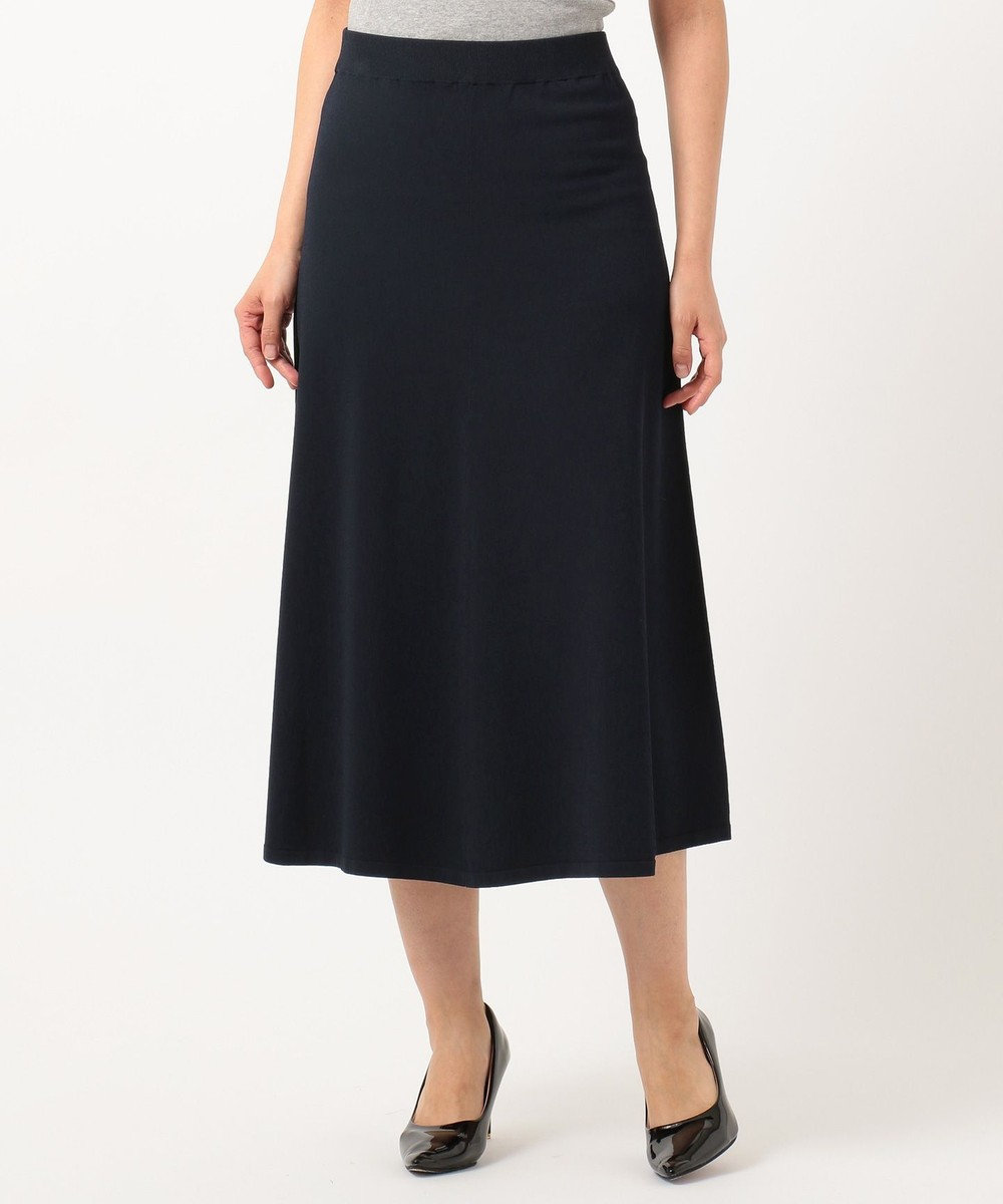 23区 S 【洗える】レーヨンポリエステル ストレッチ スカート ネイビー系