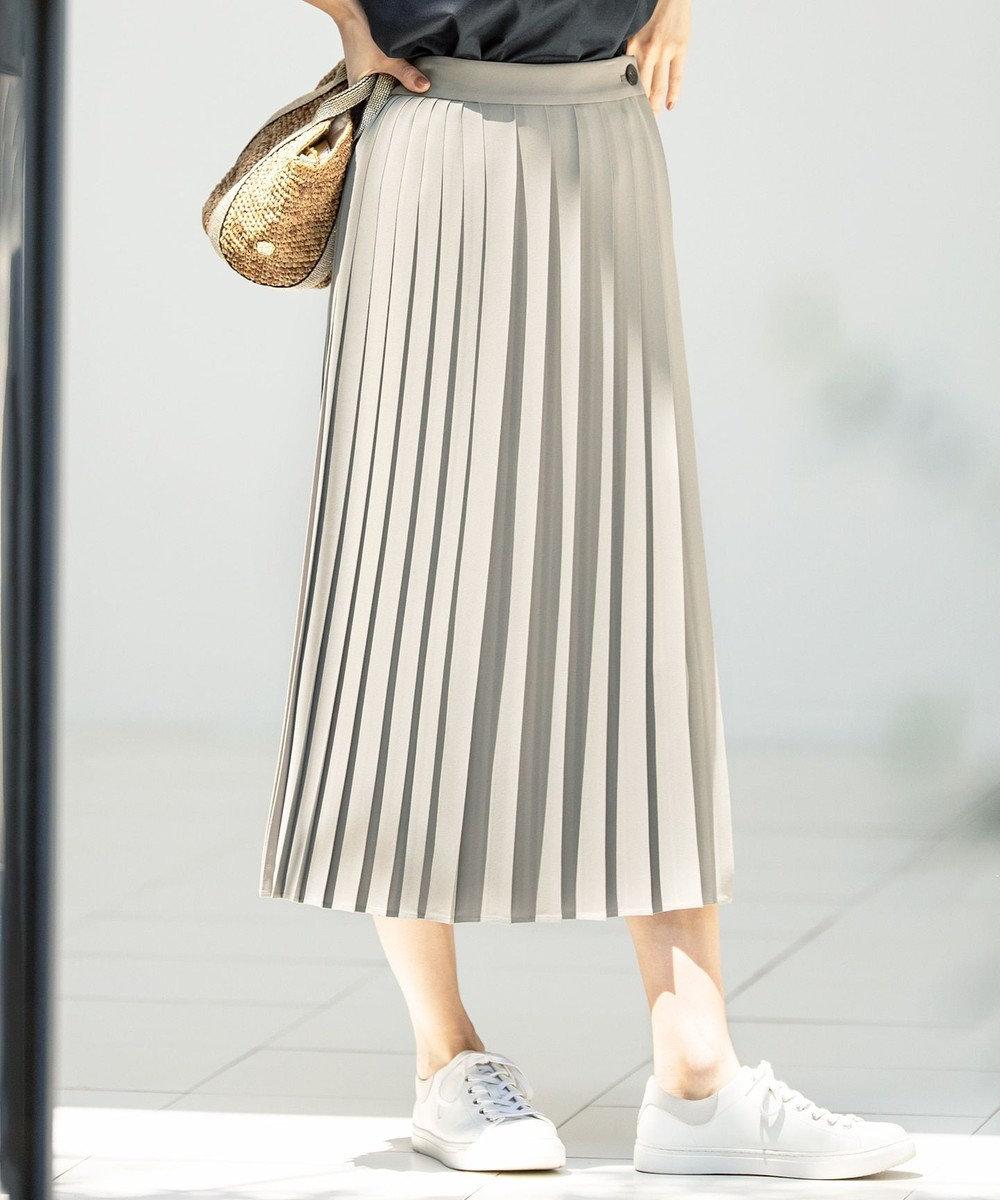 23区 S スムースプリーツツイル スカート カーキ系
