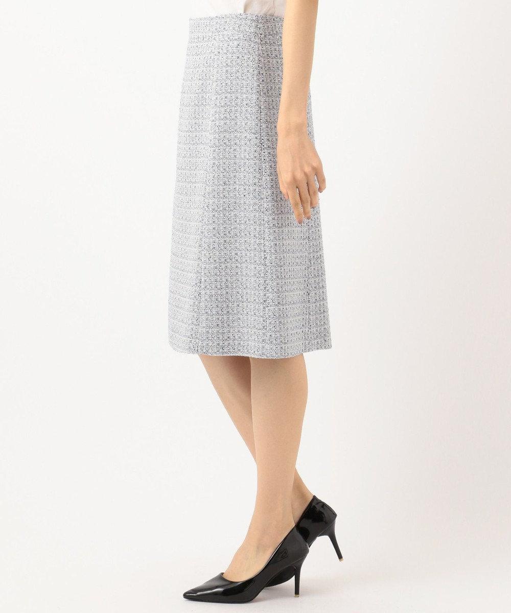 23区 L 【セットアップ対応】ライトシャインツイード スカート スカイブルー系