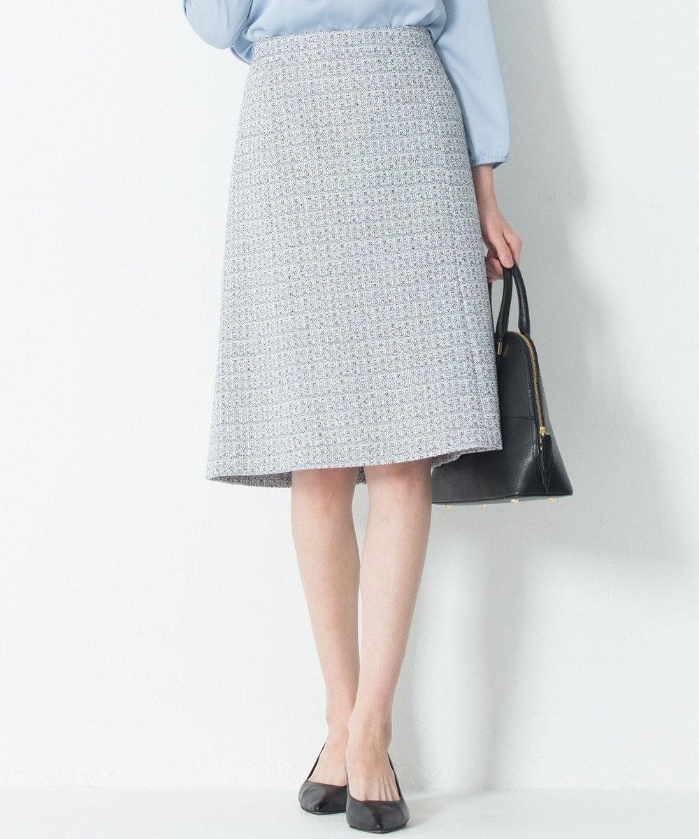 23区 S 【セットアップ対応】ライトシャインツイード スカート スカイブルー系