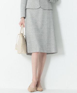 23区 L 【セットアップ対応】ライトシャインツイード スカート ブラック系1
