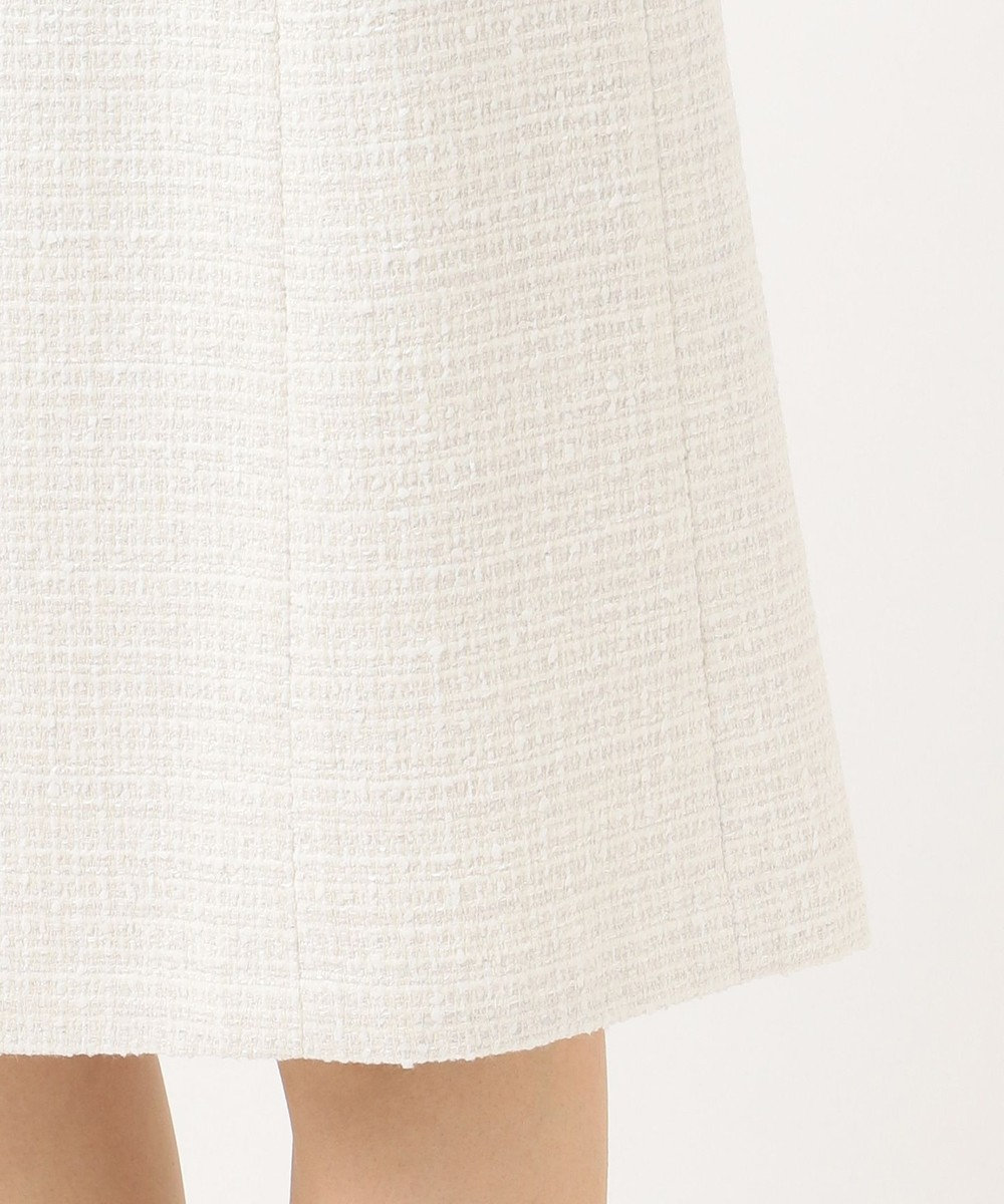 23区 S 【セットアップ対応】ブライトシャインツイード スカート ホワイト系