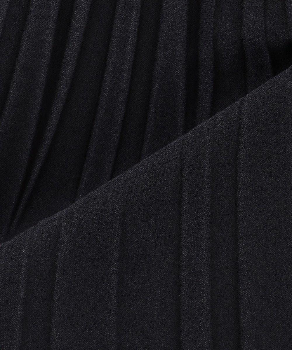 23区 S 【洗える】サテンクレープ プリーツスカート ネイビー系