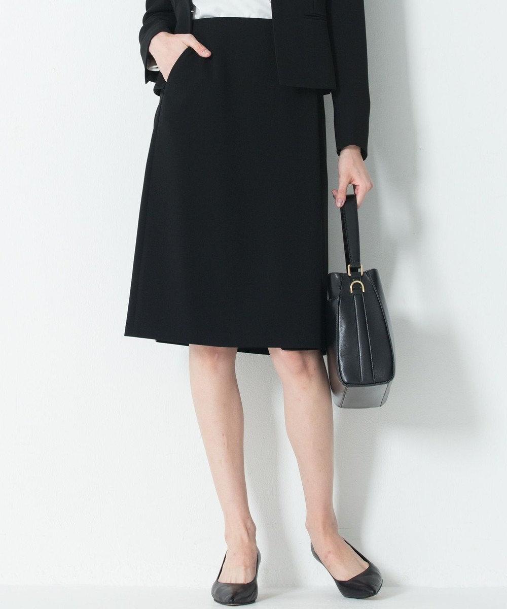 23区 【セットアップ対応】トリアセダブルジョーゼット スカート ブラック系