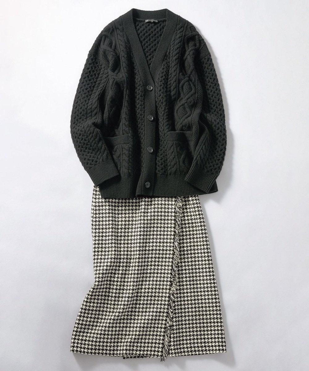 23区 L フリンジツイード ラップ スカート ブラック系1