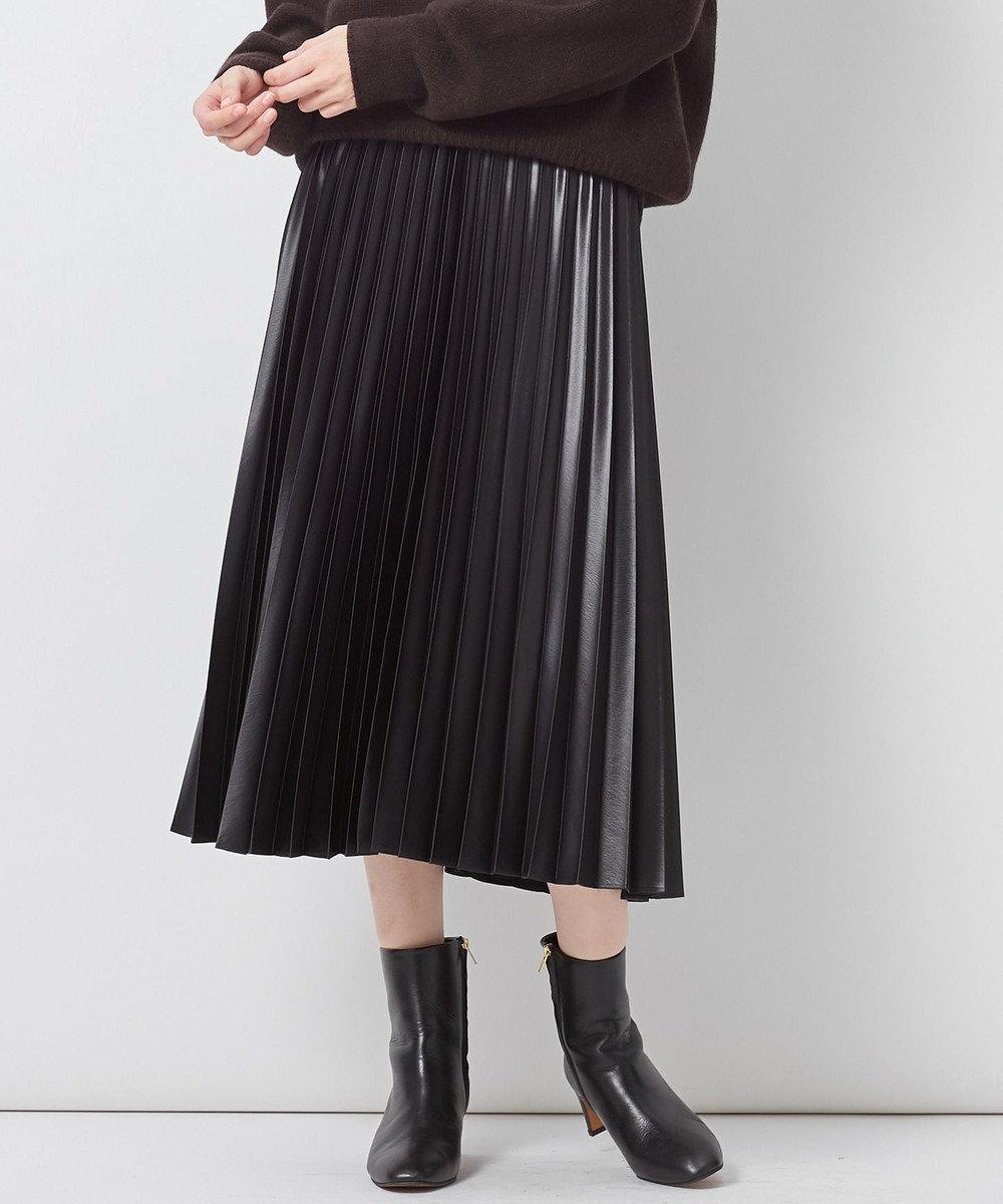 23区 サテンプリーツレザーライク スカート ブラック系